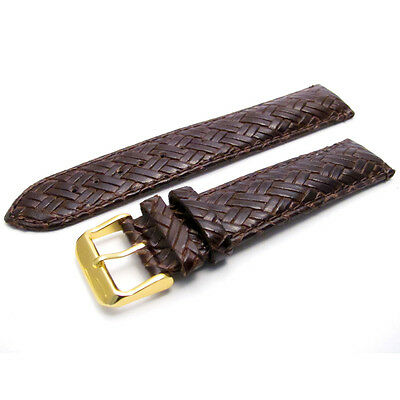 Apollo Leather Watch Strap Band 20mm Basketweave Brn