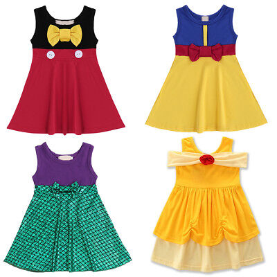 Snow White The Little Mermaid Belle Baby Kid Girl Dress for Halloween Costume - White Dress For Halloween Costume