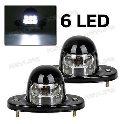 2x White Universal LED License Plate Light Lamp Car Van Trailer Trucks 12V