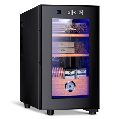 ❄️🚬Electronic Cigar Cooler Humidor 150 Capacity Spanish Cedar Wood Shelves Tray