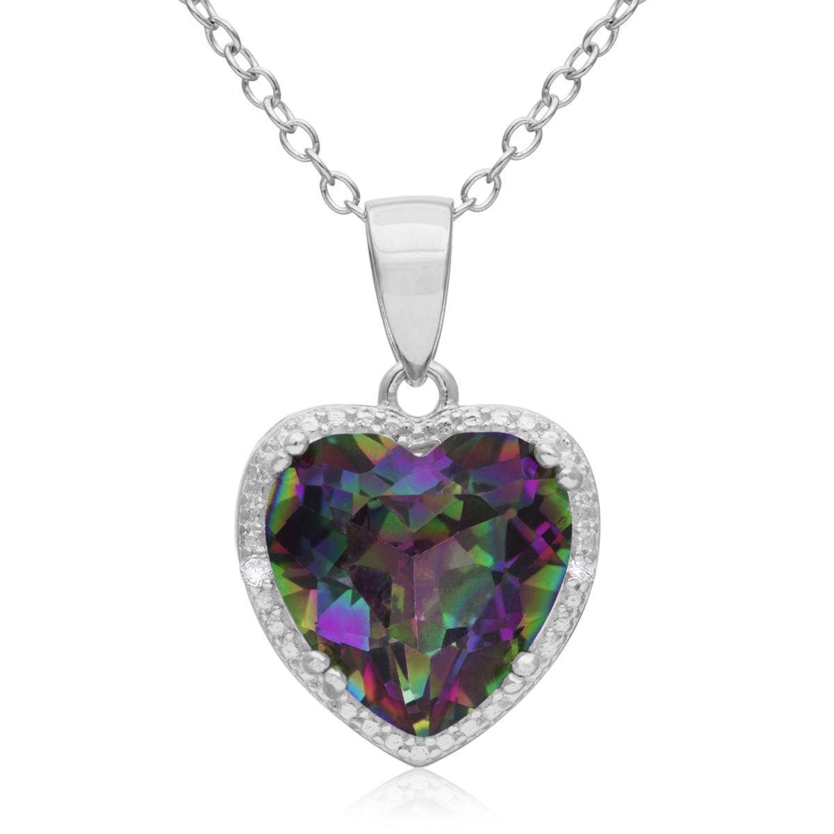 Woman Silver Love Heart Rainbow Mystical Topaz Gemstone Silver Necklace Pendant Fashion Jewelry