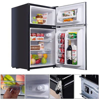 2 Door 3.4 Cu. Ft Compact Refrigerator Freezer CFC Free Furniture Home Black