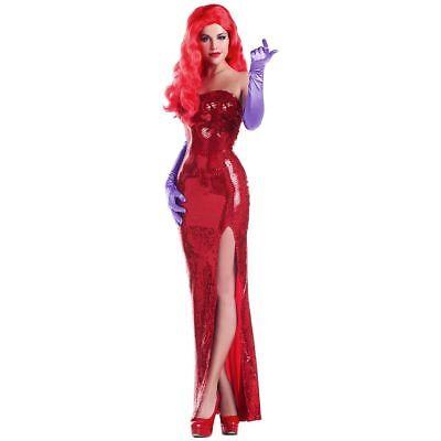 Party King Toon Starlet Jessica Rabbit Erwachsene Damen Halloween Kostüm PK205 ()