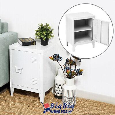 White Storage Cabinet Metal File Organizer Cube End Table Treasure Box Locker