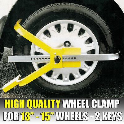 "Heavy Duty Trailer Wheel Clamp For 13"" 14"" & 15"" Wheels Security Lock 2 Keys"