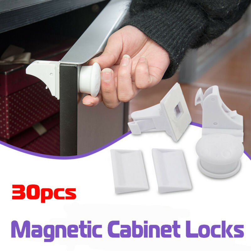 30x Magnetic Cabinet Locks Child Baby Proof Safety Cupboard Door Drawer  !