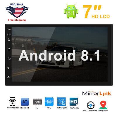 "7"" Android 8.1 Car Double Din Stereo GPS Navigation WIFI Bluetooth Radio Player"