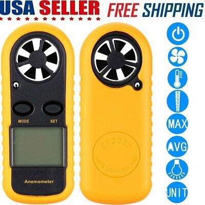 Usa Lcd Digital Anemometer Air Wind Speed Meter Humidity Thermometer Portable