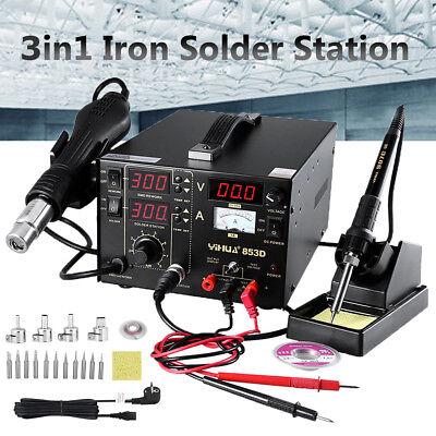3 in 1 Lötkolben Lötstation Heißluft Löten Entlöten Rework 800W mit 4Pcs Düsen