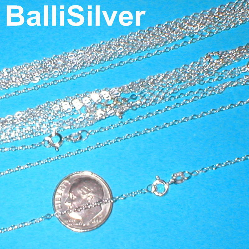 """10 pieces 16.5"""" 42cm Sterling Silver 925 Italian Fine FLAT CABLE Chains Lot"""