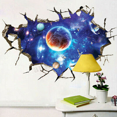 3D Outer Space Wall Stickers Home Decor Mural Art Removable Galaxy Wall Decal  - Outer Space Decor