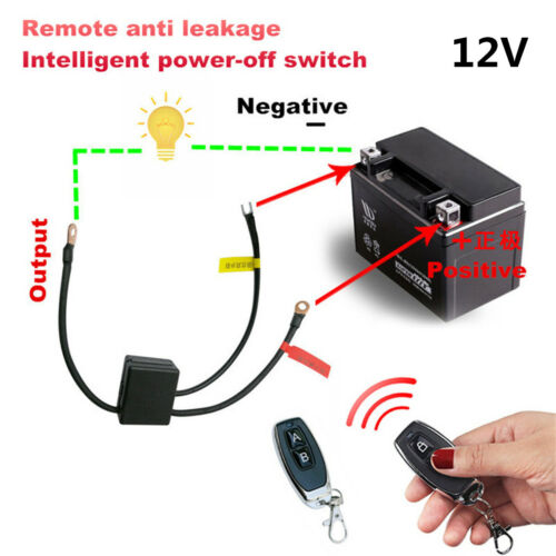 Motorcycle Wireless Dual Remote Control 12V Master Battery Kill Switch Relay Kit
