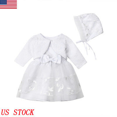 3pcs Baby Girls Princess Dress Lace Christening Wedding Party Dresses Clothes US - Baby Christening