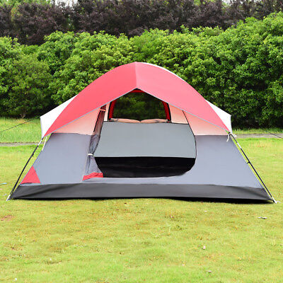Portable 4 Person Family Tent Easy Set-up Outdoor Camping Hiking Rainproof w/Bag