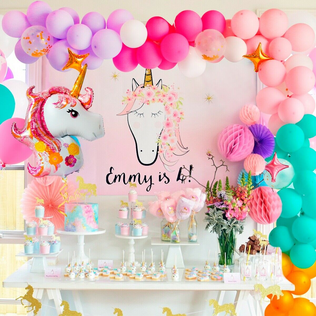102pcs 12 Pastel Unicorn Balloons Garland Arch Set Kids Birthday Party Decor Ebay