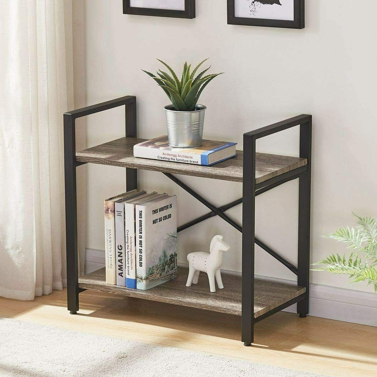 2 Tier Bookshelf Narrow Modern Wood Bookcase Small Kitchen Shelf For Storage 713091555884 Ebay
