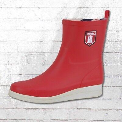 Derbe Gummistiefel Shietwedderbodden Frauen rot weiss Damen Gummi Stiefel Wellie (Frauen Rote Stiefel)