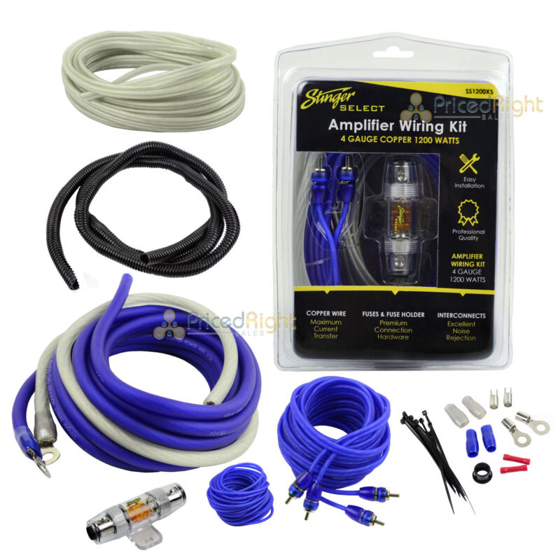 Stinger 4 Gauge Amp Kit OFC Copper Wiring 1200 Watts SS1200XS Amplifier Install