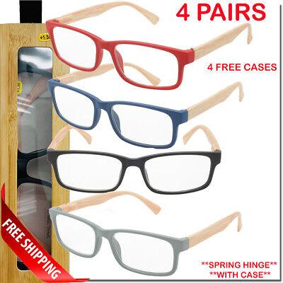 4 PACK Spring Hinge Bamboo Wood Like Reading Glasses with Case, 4 Readers New (Bamboo Reading Glasses)