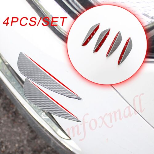 4X Carbon Fiber Accessories Body Lip Splitter Front Fins Bumper Air Auto Spoiler