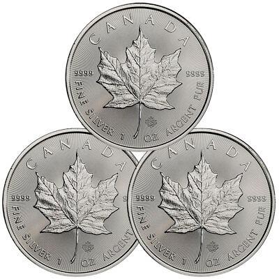 Lot of 3 - 2018 Canada 1 oz Silver Maple Leaf $5 Coins GEM BU Coins SKU49793