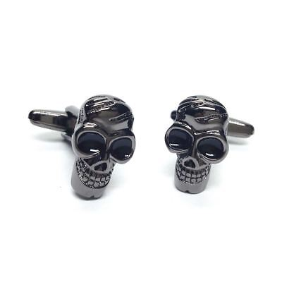 Pirate Gothic Spooky Halloween Black Eyes Skulls Cufflinks ()