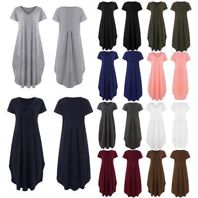 Hippie Plus Size Clothes - PLUS SIZE Summer Women Hippie Long Maxi Solid Casual Loose Beach Sundress Dress