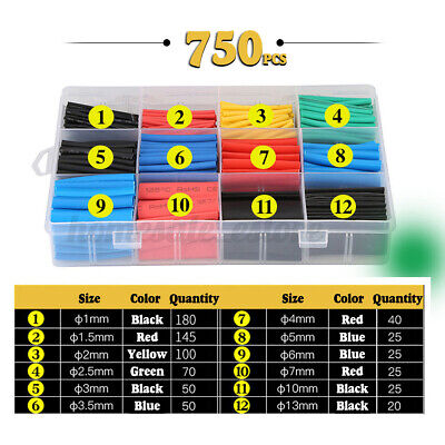 750pcs Heat Shrink Tubing Tube Assortment Wire Cable Insulation Sleeving Set
