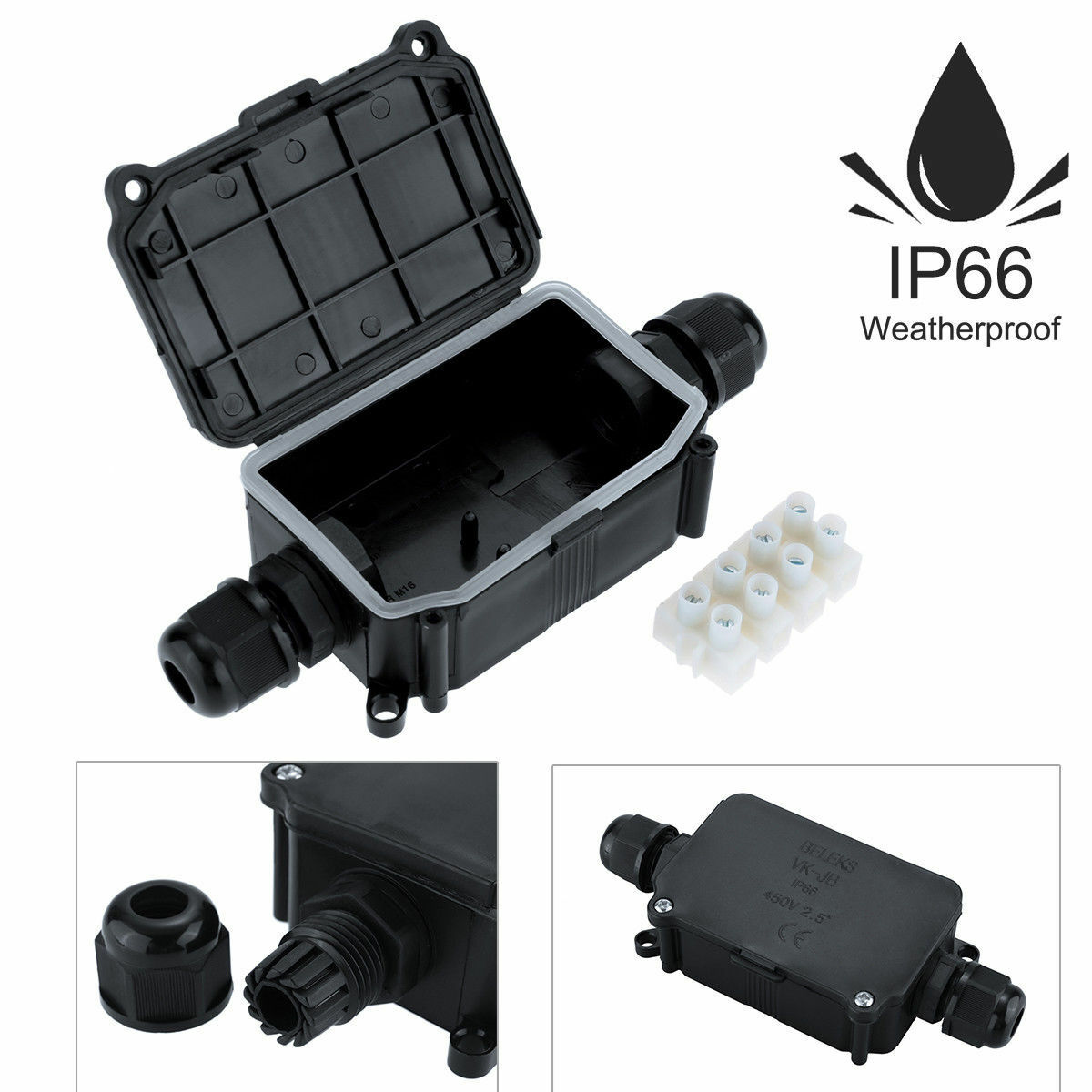2 3 Way Outdoor Waterproof IP66 Cable Connector Protection Junction Box 240V UK