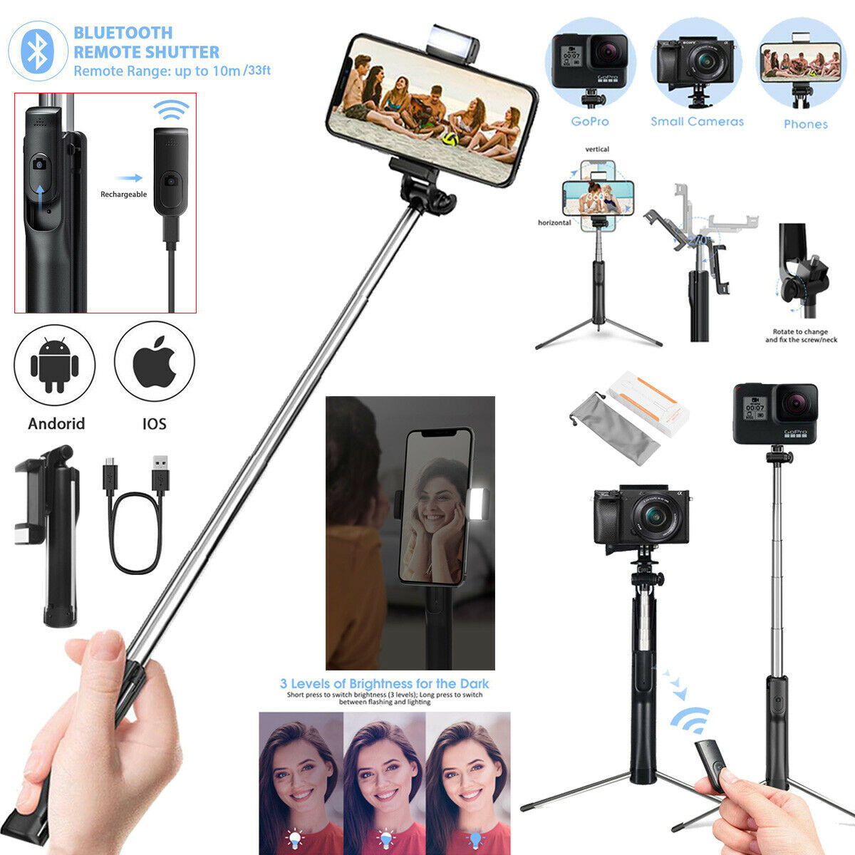 Bluetooth Remote Selfie Stick Tripod Monopod w/LED Fill Ligh