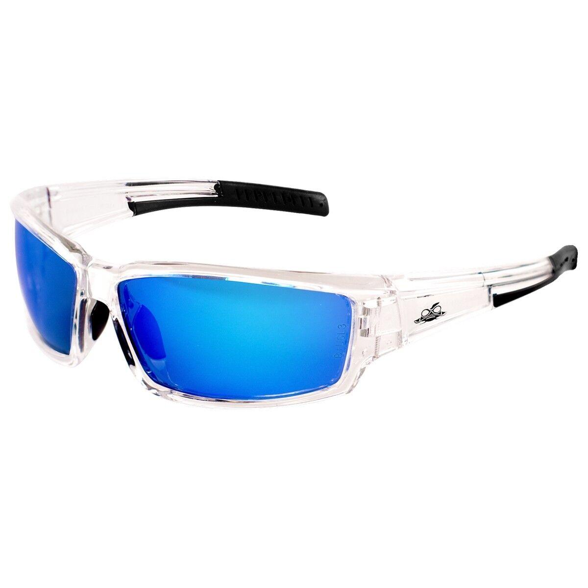 Bullhead Maki Safety Glasses with Blue Mirror Anti-Fog Lens, Clear Frame