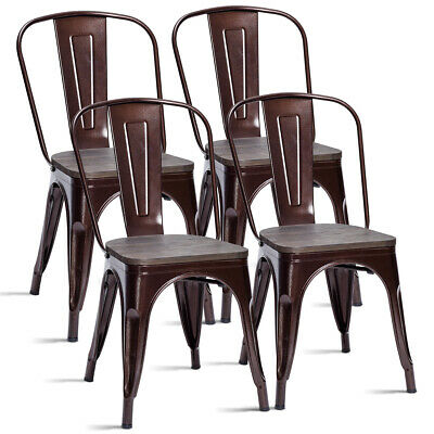Set of 4 Tolix Style Metal Dining Side Chair Wood Seat Stack