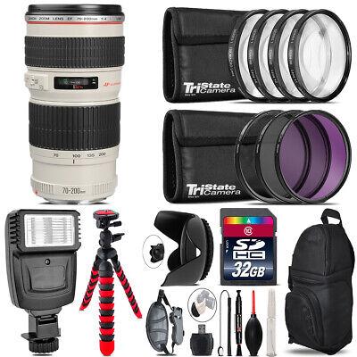Canon EF 70-200mm f/4L USM Lens + Flash +  Tripod & More - 32GB Accessory Kit