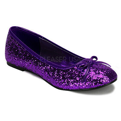 Women's Purple Glitter Ballet Flats Halloween Costume Flat Shoes STAR16G/PUR - Halloween Shoes For Women