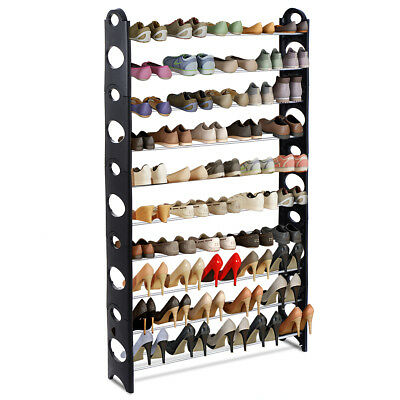 Adjustable 50 Pair 10 Tier Shoe Tower Rack Space Saving Storage Organizer Furni