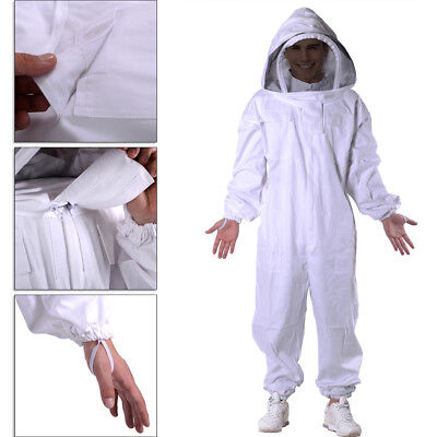 Professional Cotton Full Body Beekeeping Bee Keeping Suit w/ Veil Hood  XXXL