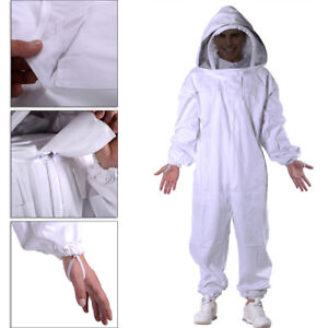 Professional Cotton Full Body Beekeeping Bee Keeping Suit w/ Veil Hood  XXL
