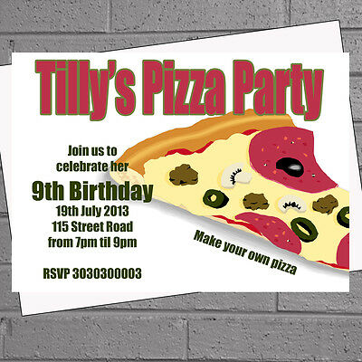 Childrens Kids Girls Boys Pizza Party Birthday Party Invitations x 12+envs H0827