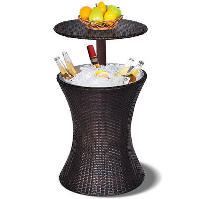 Adjustable Outdoor Patio Rattan Ice Cooler Cool Bar Table Party Deck Pool