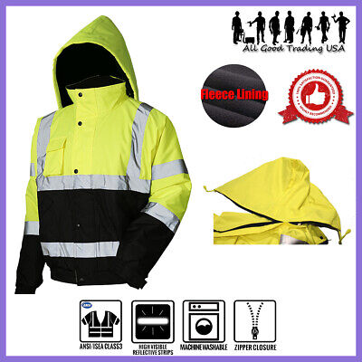 Hi Vis Insulated Safety Bomber Reflective Jacket Coat Road Work Fleece Lining Jo
