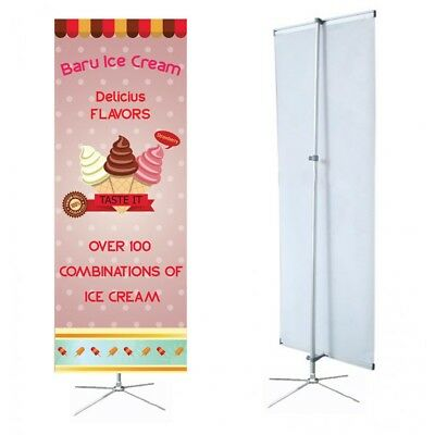Banner Stand Adjustable Cross Base 31.5 Wide 70. Tall Travel Bag Trade Show