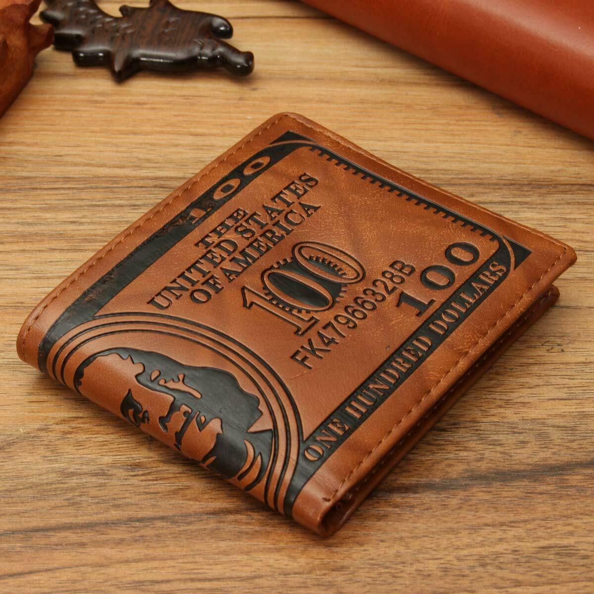 Men US Dollar Bill Wallet Brown PU Leather Bifold Credit Card Holder Purse Clothing, Shoes & Accessories