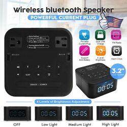 8 In 1Portable bluetooth Speaker Digital Alarm Clock Snooze Dual USB FM Radio US