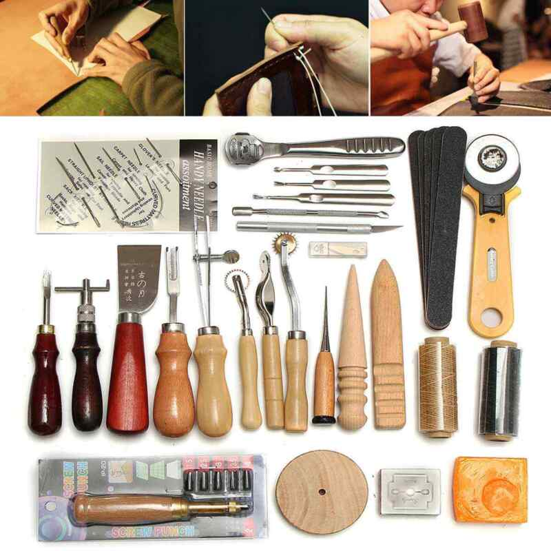 37Pcs Leather Craft Tools Kit Hand Sewing Professional Stitching Punch Carving