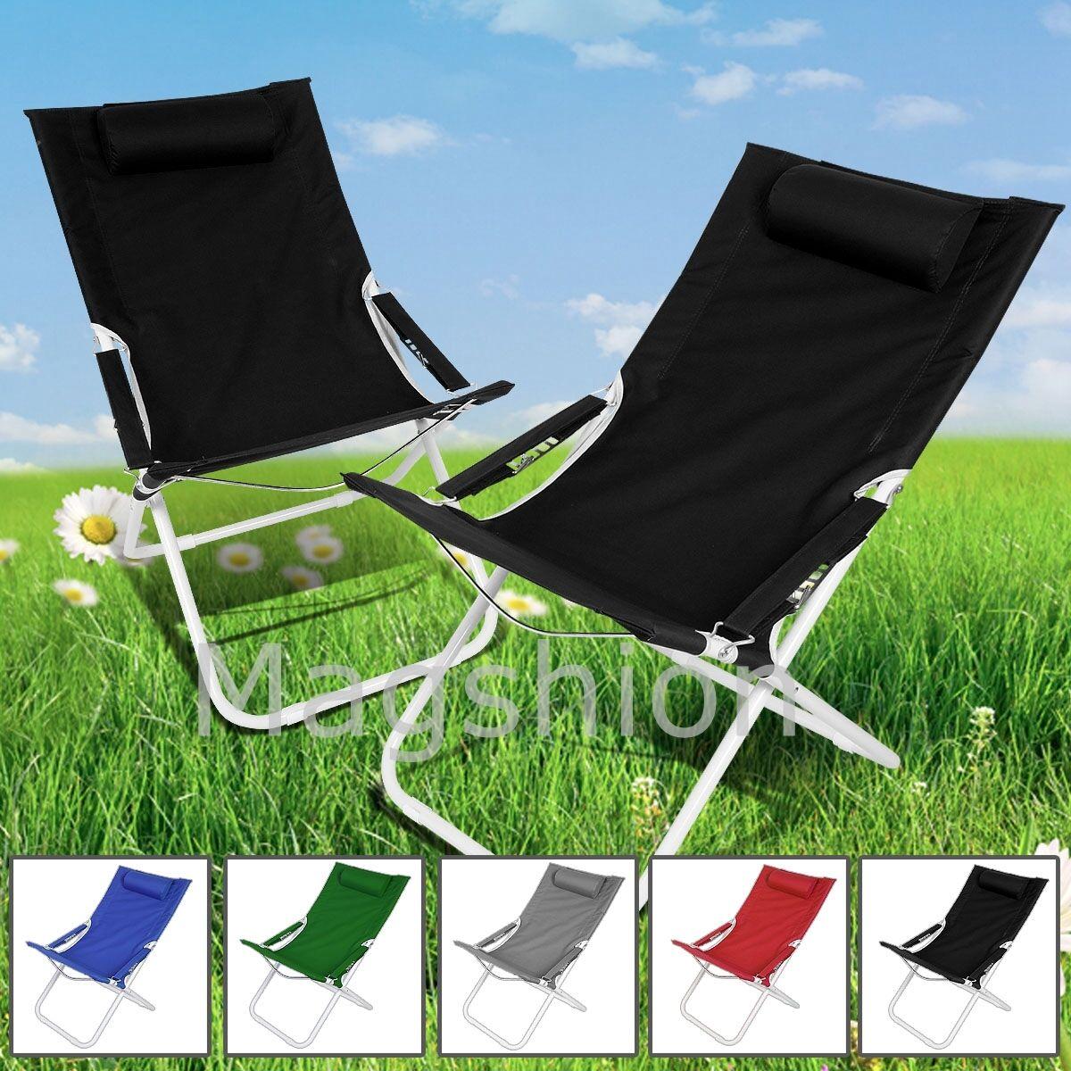 Black Curved Chair Folding Lounge Reclining Patio Pool Beach