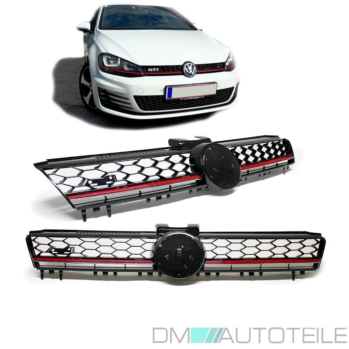 VW Golf 7 GTI Kühlergrill Front Grill Schwarz Glanz Rote Leiste für Emblem 12-16