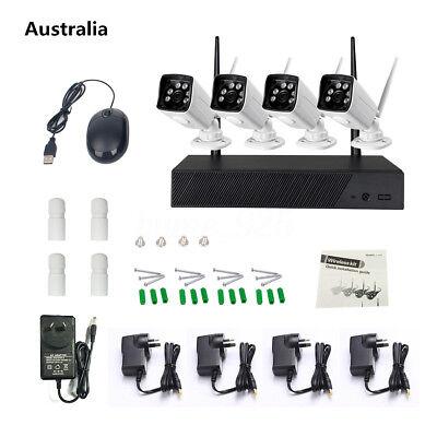 4CH 720P NVR Kit HD Outdoor IR CUT Security IP Wireless Camera WIFI CCTV System