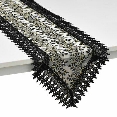 Shop LC Black 100% Polyester Doily Boutique Embroidered Table Runner with Lace