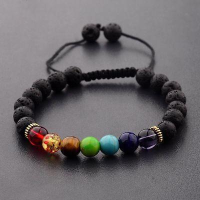 7 Chakra Energy 8MM Natural Stone Adjustable Braided Handmade Charm Bracelets