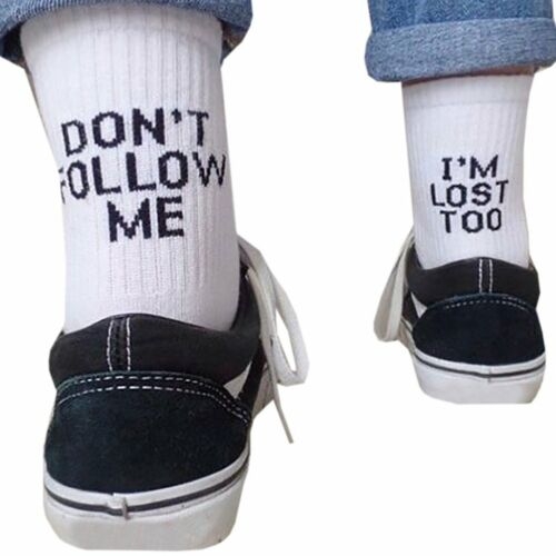 Fashion Men Women Letter Funny Casual Sport Cotton White Black Skateboard Socks